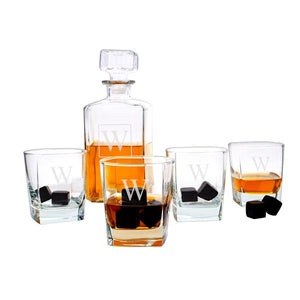 Personalized Decanter Set with Black Whiskey Stones - Cece & Me - Home and Gifts