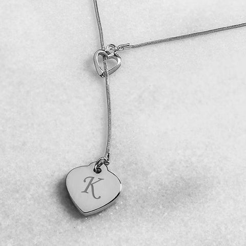 Personalized Double Heart Lariat Necklace - Cece & Me - Home and Gifts