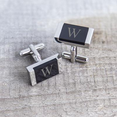 Image of Personalized Faux Onyx Stainless Steel Cuff Links - Cece & Me - Home and Gifts