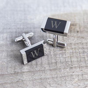 Personalized Faux Onyx Stainless Steel Cuff Links - Cece & Me - Home and Gifts