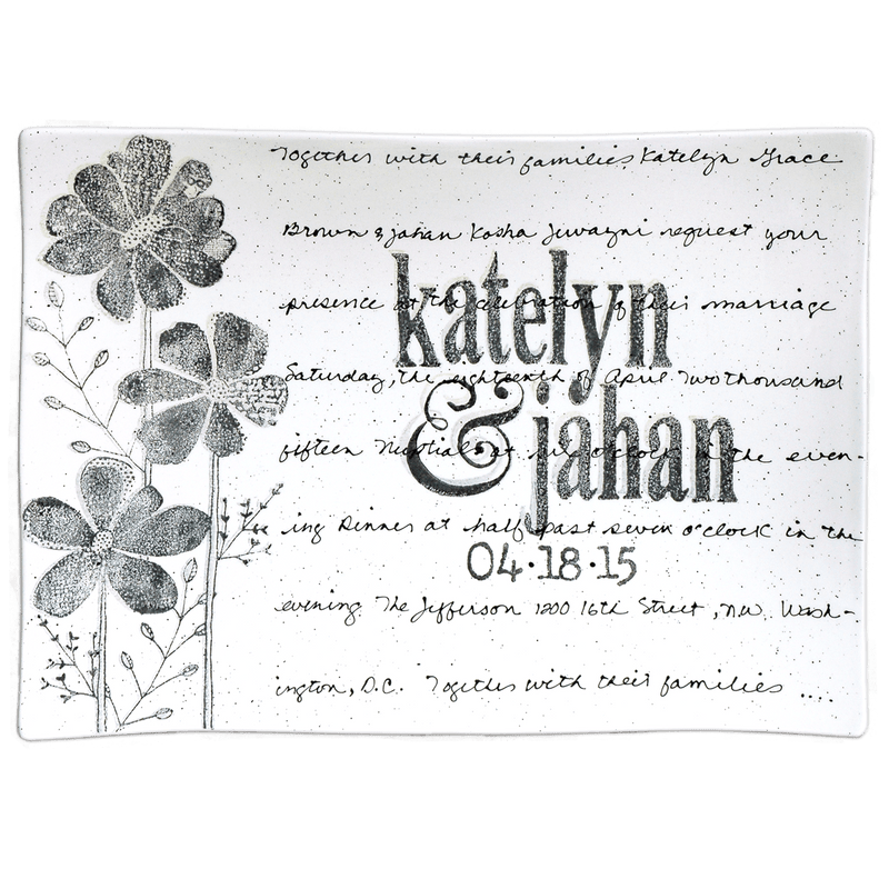 Personalized Flower Wedding Invitation Platter ~ Flare - Cece & Me - Home and Gifts