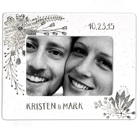 Image of Personalized Flower Wedding Photo Frame - Cece & Me - Home and Gifts