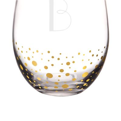 Personalized Gold Dot Stemless Wine Glasses Set Of 4