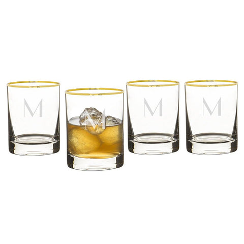 Personalized Gold Rim Whiskey Glasses (Set of 4) - Cece & Me - Home and Gifts