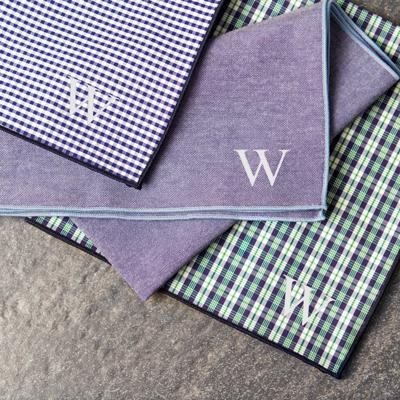 Personalized Green & Navy Gingham Handkerchief Set - Cece & Me - Home and Gifts