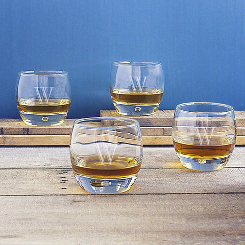 Image of Personalized Heavy Based Whiskey Glasses (Set of 4) - Cece & Me - Home and Gifts