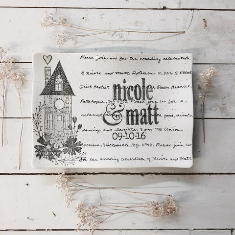 Image of Personalized Home Platter Flare ~ Wedding Invitation - Cece & Me - Home and Gifts