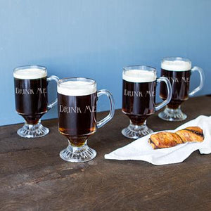 Personalized Irish Glass Coffee Mugs (Set of 4) - Cece & Me - Home and Gifts