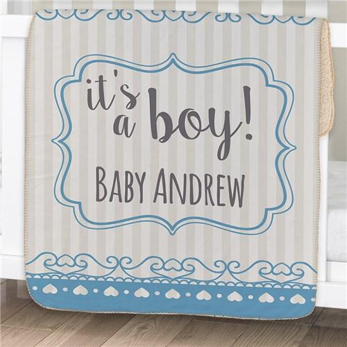 Personalization for baby kids personalized its a baby sherpa blanket blue cece me negle Choice Image