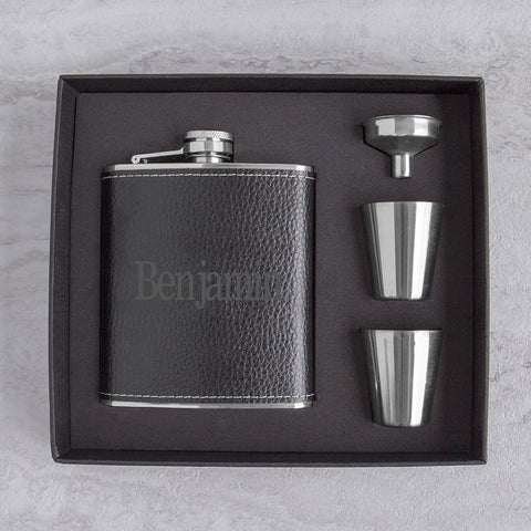 Image of Personalized Leather Wrapped  Flask Set ~ Black - Cece & Me - Home and Gifts