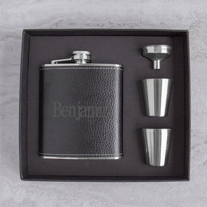 Personalized Leather Wrapped  Flask Set ~ Black - Cece & Me - Home and Gifts