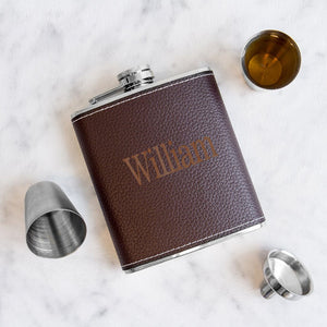 Personalized Leather Wrapped  Flask Set ~ Brown - Cece & Me - Home and Gifts