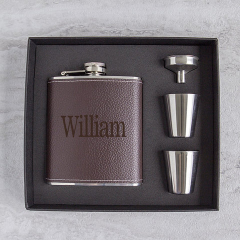 Image of Personalized Leather Wrapped  Flask Set ~ Brown - Cece & Me - Home and Gifts