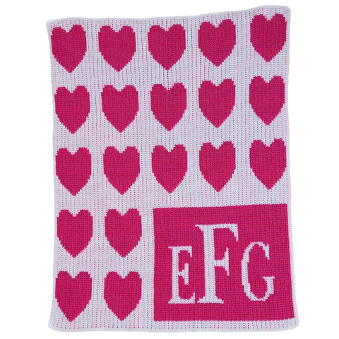 Personalized Lots of Hearts & Monogram Blanket - Cece & Me - Home and Gifts