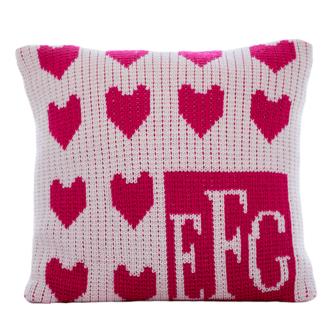 Personalized Lots of Hearts Monogram Pillow - Cece & Me - Home and Gifts