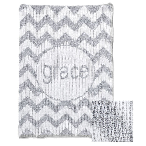 Personalized Metallic Chevron Blanket - Cece & Me - Home and Gifts