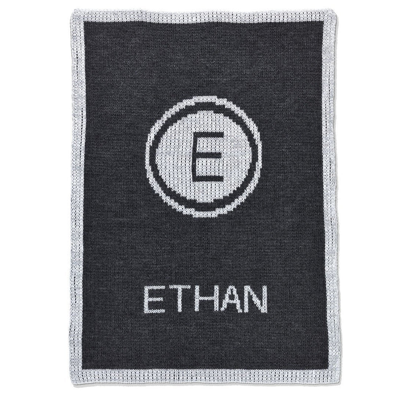 Personalized Metallic Initial Stamp and Name Blanket - Cece & Me - Home and Gifts
