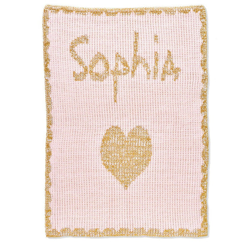 Personalized Metallic Single Heart & Scalloped Edge Blanket - Cece & Me - Home and Gifts