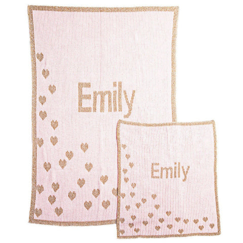 Personalized Metallic Sprinkled Hearts Blanket - Cece & Me - Home and Gifts