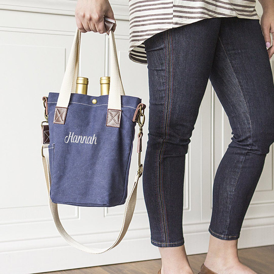Personalized Navy Waxed Canvas Wine Tote - Cece & Me - Home and Gifts