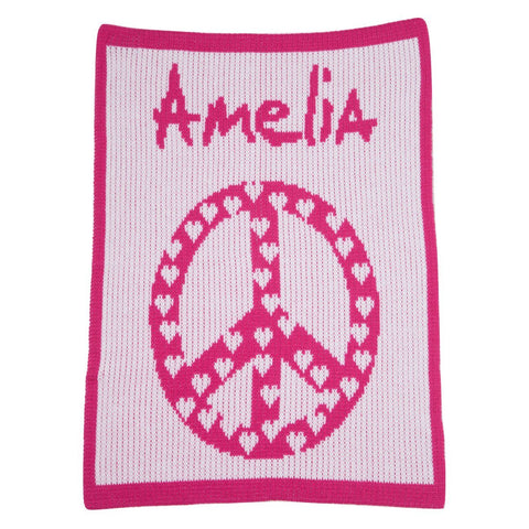 Personalized Peace & Hearts Blanket - Cece & Me - Home and Gifts