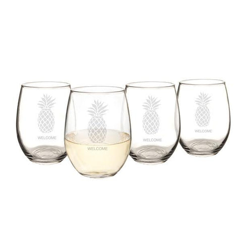 Personalized Pineapple Stemless Wine Glasses (Set of 4) - Cece & Me - Home and Gifts