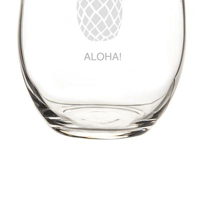 Image of Personalized Pineapple Stemless Wine Glasses (Set of 4) - Cece & Me - Home and Gifts