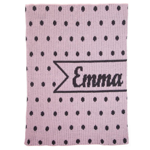 Personalized Pint-Sized Polka Dots & Name Banner Blanket - Cece & Me - Home and Gifts