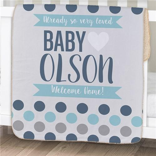 Personalization for baby kids personalized polka dots baby sherpa blanket blue cece me home and gifts negle Choice Image