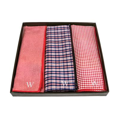 Personalized Red & Navy Gingham Handkerchief Set - Cece & Me - Home and Gifts