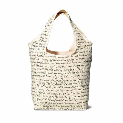 Image of Reversible Cotton Tote ~ Script - Cece & Me - Home and Gifts