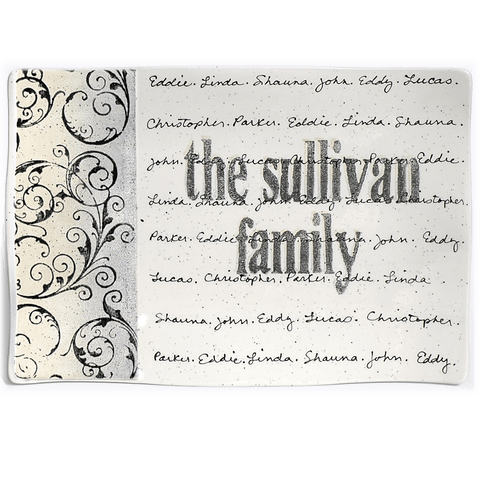 Image of Personalized Scroll Family Name Platter ~ Flare - Cece & Me - Home and Gifts