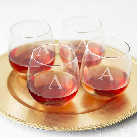 Image of Personalized Stemless Red Wine Glasses (Set of 4) - Cece & Me - Home and Gifts