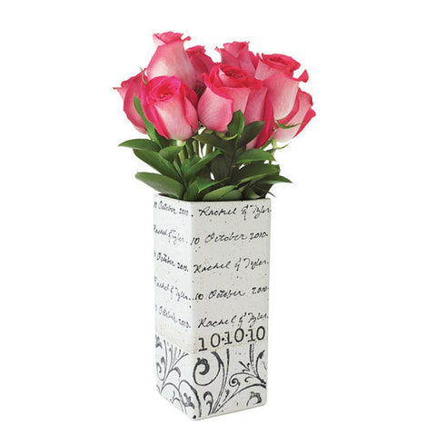 Image of Personalized Vine Cursive Wedding Vase - Cece & Me - Home and Gifts