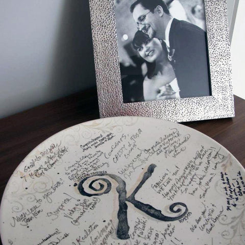 Image of Personalized Scrollwork Wedding ~ Guest Book Platter - Cece & Me - Home and Gifts