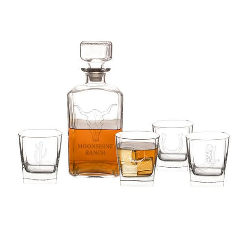 Image of Personalized Western 5 pc. Decanter Set - Cece & Me - Home and Gifts
