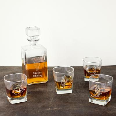 Personalized Western 5 pc. Decanter Set - Cece & Me - Home and Gifts