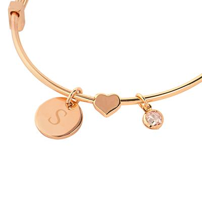 Image of Personalized Wire Bracelet with Sliding Heart Pendant - Cece & Me - Home and Gifts