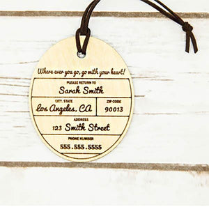 Personalized Wood Luggage Tag ~ Cirque - Cece & Me - Home and Gifts