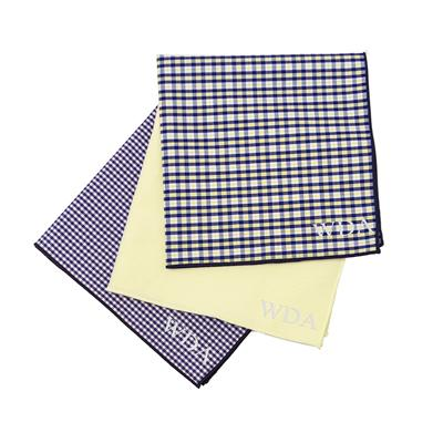 Personalized Yellow & Navy Gingham Handkerchief Set - Cece & Me - Home and Gifts