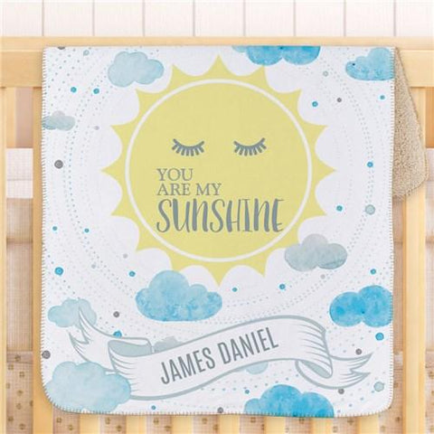Personalized You Are My Sunshine Sherpa Baby Blanket ~ Blue - Cece & Me - Home and Gifts