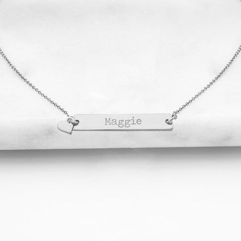 Personalized Bar Necklace with Heart Charm ~ Silver & Gold - Cece & Me - Home and Gifts