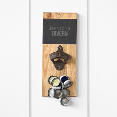 Image of Personalized Slate & Acacia Wall Mount Bottle Opener with Magnetic Cap Catcher - Cece & Me - Home and Gifts