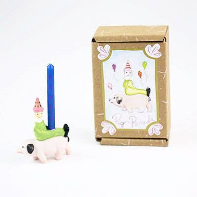 Image of Fun Circus Porcelain Candle Holder - Pig Parade - Cece & Me - Home and Gifts