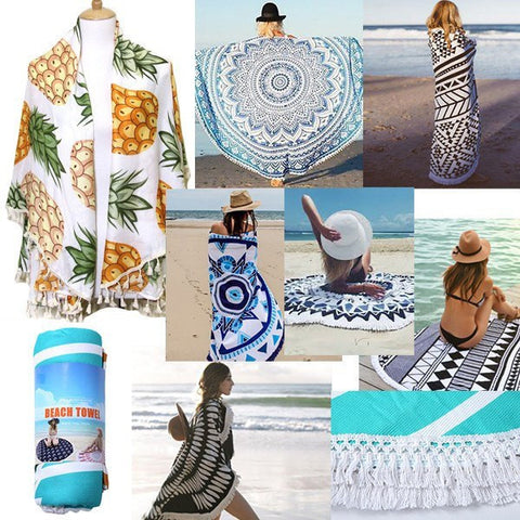 Image of Heart Round Beach Terry Towel - Cece & Me - Home and Gifts