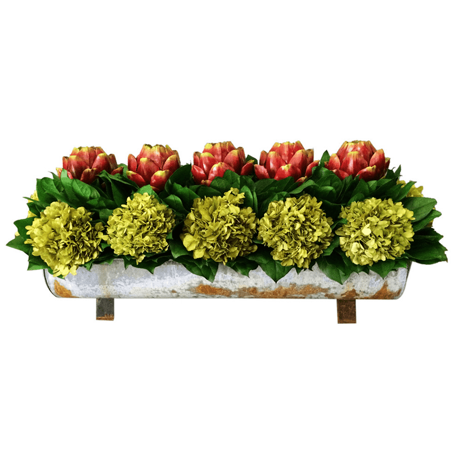 Preserved Hydrangea & Artichoke Trough - Cece & Me - Home and Gifts