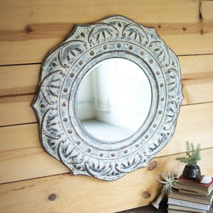 Pressed Metal Flower Wall Mirror - Cece & Me - Home and Gifts