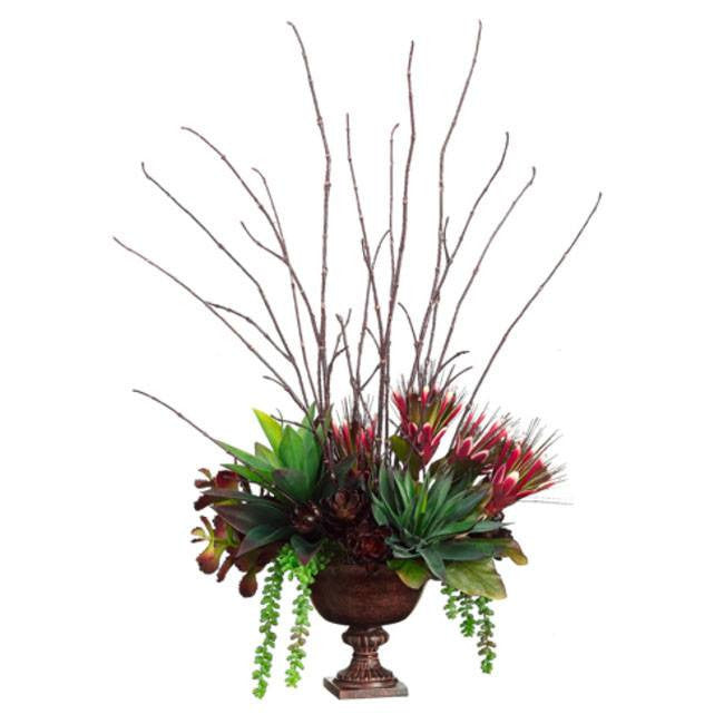 Protea/Agave/ Sedum in Metal Urn ~ Burgundy & Green - Cece & Me - Home and Gifts