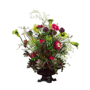 Protea/Daisy/ Ranunculus in Bowl ~ Green & Burgundy - Cece & Me - Home and Gifts