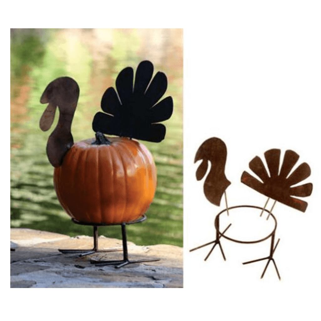 Pumpkin Metal Turkey (3 Piece) - Cece & Me - Home and Gifts